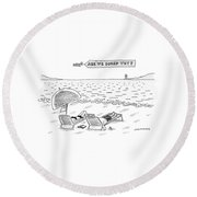 A Man And A Woman Lie Down On Reclined Beach Round Beach Towel by Mick Stevens