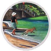 A Man And His Dog Round Beach Towel