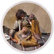 A Man And His Monkey - Varanasi India Round Beach Towel
