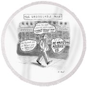 A Man Is Seen Walking Down The Sidewalk With Word Round Beach Towel by Roz Chast