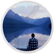 A Man Looks At The Mountains Round Beach Towel