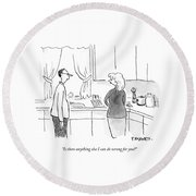 A Man Speaks To A Woman In A Kitchen Round Beach Towel by Pat Byrnes