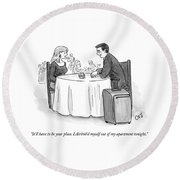 A Man Speaks To A Woman On A Date At A Restaurant Round Beach Towel by Carolita Johnson