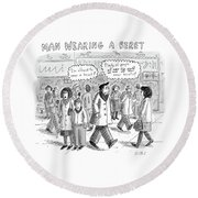A Man Wearing A Beret Walks Down A Busy Street Round Beach Towel by Roz Chast