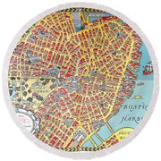 A Map Of Old Boston In The Commonwealth Of Massachusetts Round Beach Towel