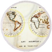 A Map Of The World  Amy Baldwin Sc Round Beach Towel