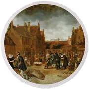 A Marketplace In Winter, 1653 Round Beach Towel