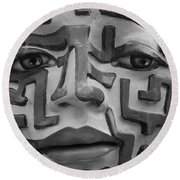 A Maze Ing Face Black And White Round Beach Towel