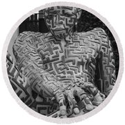 A Maze Ing Man 1 Black And White Round Beach Towel
