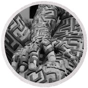 A Maze Ing Man 4 Black And White Round Beach Towel