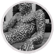 A Maze Ing Man 5 Black And White Round Beach Towel