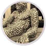 A Maze Ing Man 5 Sepia Round Beach Towel