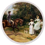 A Meeting By A Stile  Round Beach Towel by Heywood Hardy