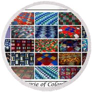 A Menagerie Of Colorful Quilts  Round Beach Towel by Barbara Griffin