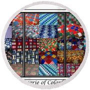 A Menagerie Of Colorful Quilts Triptych Round Beach Towel