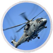 A Merlin Helicopter Round Beach Towel
