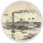 A Mississippi Steamer Off St Louis From American Notes By Charles Dickens  Round Beach Towel by EH Fitchew