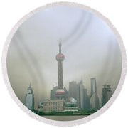 A Misty Pudong Round Beach Towel