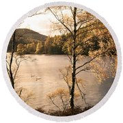 A Moment Of Gold Round Beach Towel