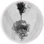 Tree Birds Clouds Abstract Paint Drips Round Beach Towel