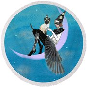 A Moon Cat  Round Beach Towel