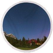 A Moonlit Nightscape Taken In Banff Round Beach Towel