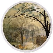A Moonlit Stroll Bonchurch Isle Of Wight Round Beach Towel by John Atkinson Grimshaw