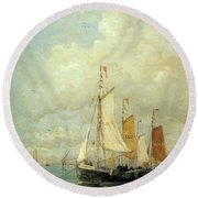 A Moored Fishing Fleet Round Beach Towel