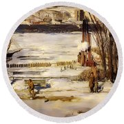A Morning Snow On The Hudson River Round Beach Towel