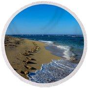 A Morning Walk On A Dominican Beach Round Beach Towel
