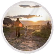 A Mother And Child Hike At Sunset Round Beach Towel