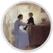 A Mother And Child In An Interior Round Beach Towel by Peter Vilhelm Ilsted