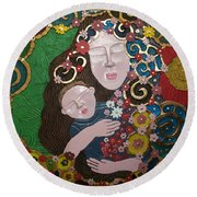 A Mother's Lullaby Round Beach Towel