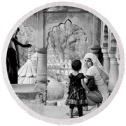 A Mother's Moment Round Beach Towel
