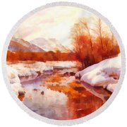 A Mountain Torrent In A Winter Landscape Round Beach Towel