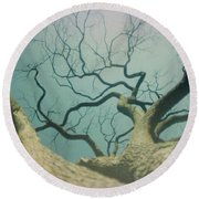 A Naked Tree Round Beach Towel