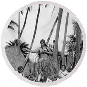 A Native Hawaiian Dancer Round Beach Towel