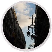 A Necklace Of Barcelona Streetlamps Round Beach Towel