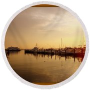 A New Day Beings On The Water - Atlantic Highlands  - Nj Round Beach Towel