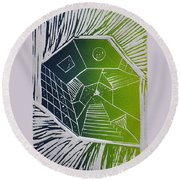 A New Dimension Blue And Green Linocut Round Beach Towel