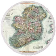 A New Map Of Ireland 1799 Round Beach Towel