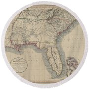 A New Map Of Part Of The United States Of North America Round Beach Towel