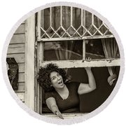 A New Orleans Greeting Sepia Round Beach Towel