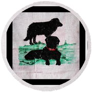 A Newfoundland Dog And A Labrador Retriever Round Beach Towel