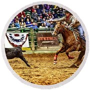 A Night At The Rodeo V10 Round Beach Towel