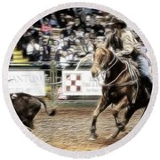 A Night At The Rodeo V12 Round Beach Towel