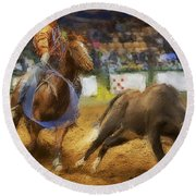 A Night At The Rodeo V18 Round Beach Towel