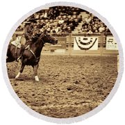 A Night At The Rodeo V22 Round Beach Towel