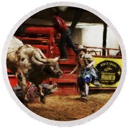 A Night At The Rodeo V38 Round Beach Towel