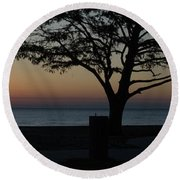 A November Sunset Round Beach Towel
